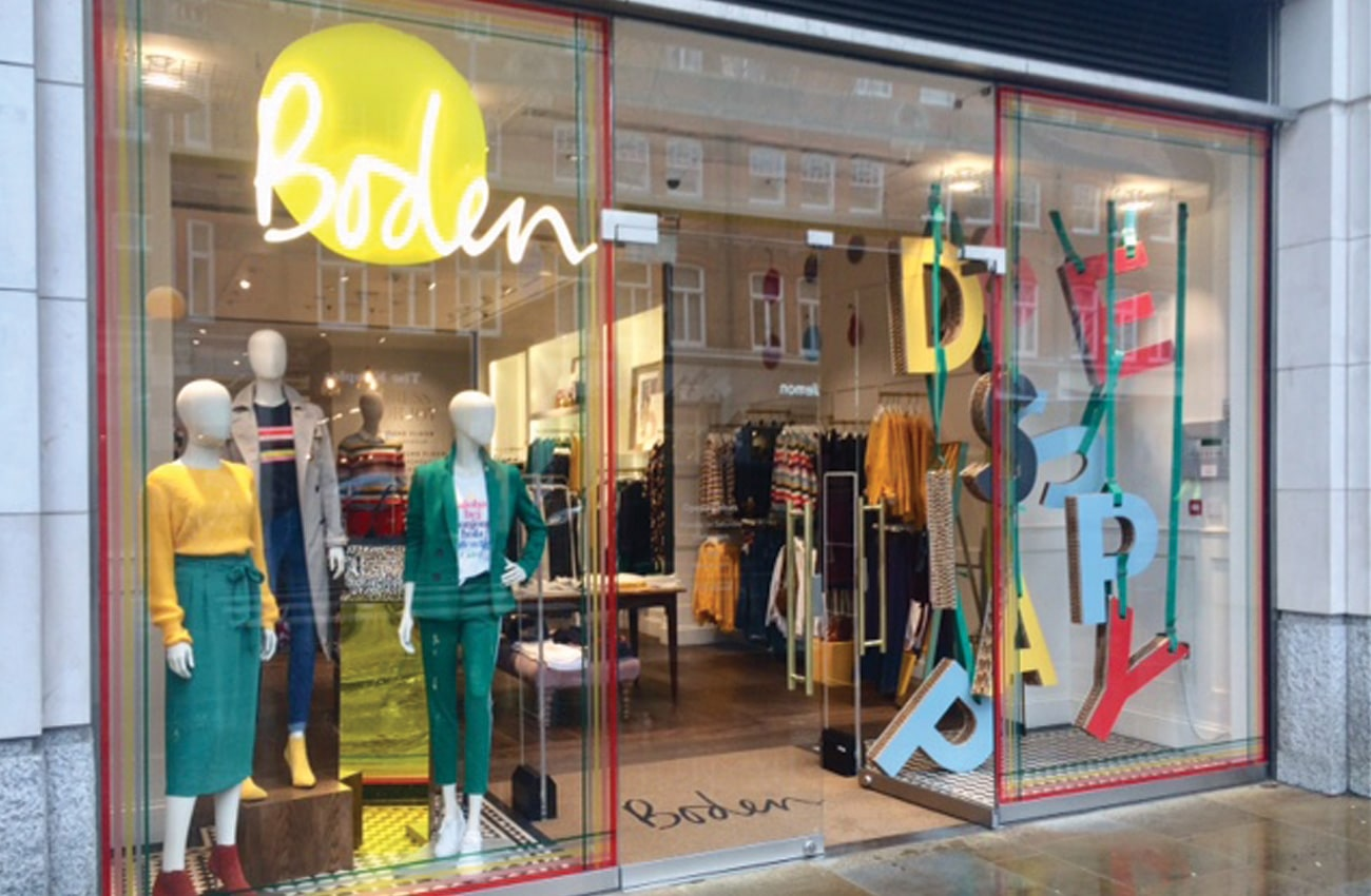 Dufaylite Ultra Board used for fun window display at Boden Clothing