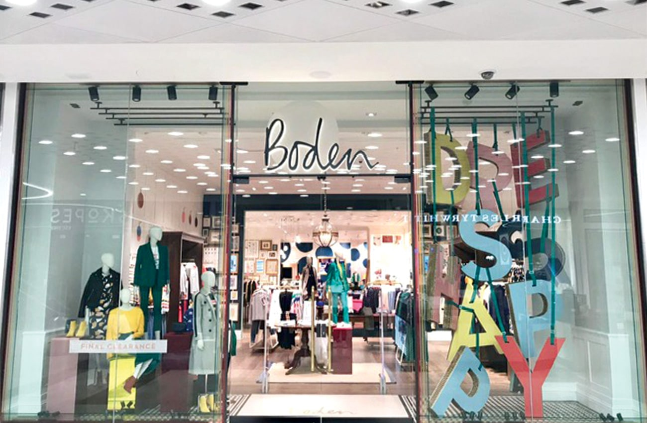 Boden store front use Dufaylite Ultra Board for window display